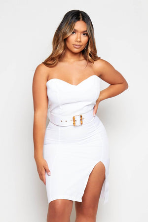 White Bandeau Belted Mini Split Dress