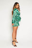 Green Leopard Satin Buttoned Shift Dress