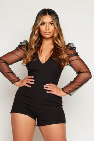 Black V Neck Playsuit with Mesh Balloon Sleeves