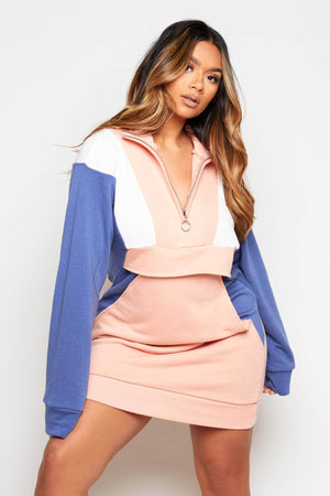 Pink Colour Block Zip Up Sweater Dress