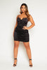 Black Satin Ruched Mini Cami Dress