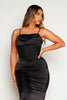 Black Ruched Neck Midi Slip Dress