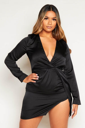 Black Satin Twist Knot Shift Dress