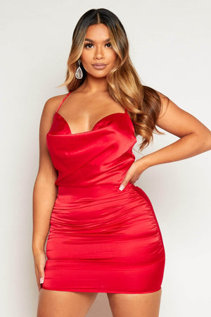 Red Satin Cowl Neck Mini Dress