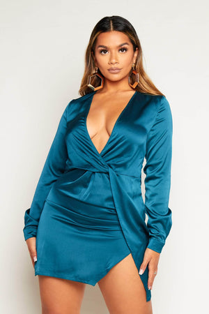 Teal Satin Twist Knot Shift Dress