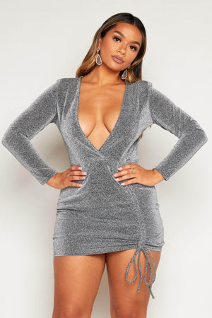 Silver Glitter Plunge Ruched Mini Dress