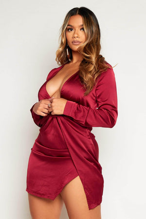 Wine Satin Twist Knot Shift Dress