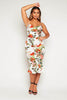 White Floral Satin Cowl Neck Flute Dress