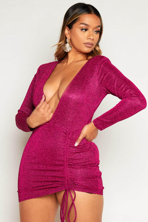Hot Pink Glitter Plunge Ruched Mini Dress