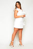 White Scuba One Shoulder Ruffle Dress