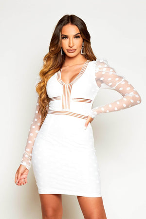 White Polkadot Mesh Contrast Dress