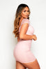 Pink Bustier Bodycon Chiffon Ruched Dress