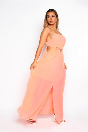 Neon Pink Chiffon Cut Out Maxi Dress
