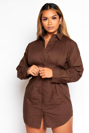 Brown Tailored Fitted Shirt Dress