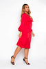 Red V Neck Buttoned Shift Dress