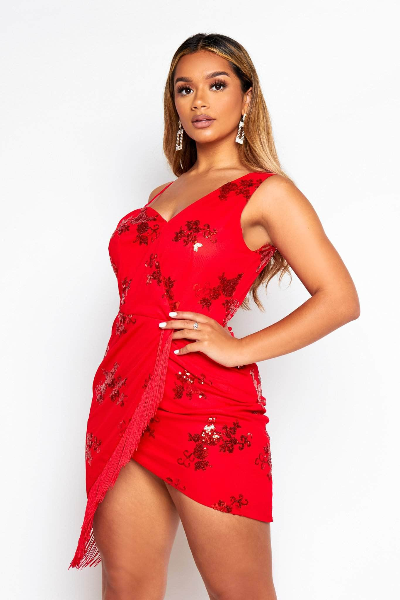 Red Mesh & Sequin One Shoulder Midi Tassel Dress