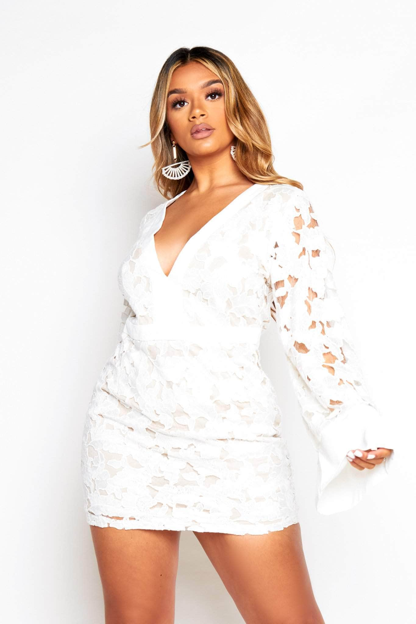 White Flare Sleeve Lace Plunge Dress