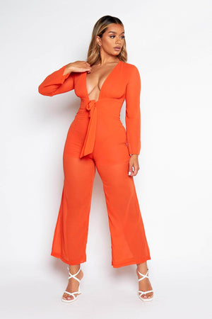 Orange Sheer Plunge Tie Jumpsuit