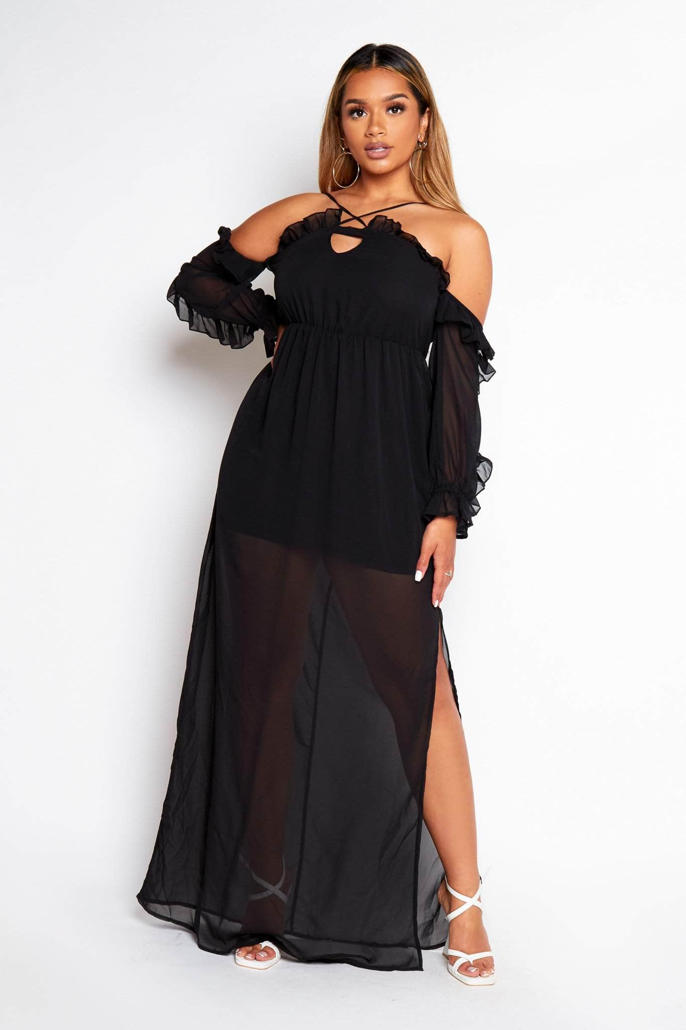 Black Chiffon Bardot Maxi Split Dress