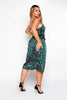 Green Leopard Printed Midi Cami Dress