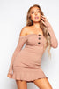 Nude Rib Bardot Mock Horn Mini Dress
