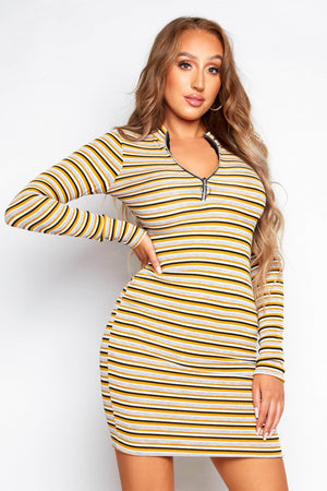 Multicoloured Stripe Ribbed Zip Up Dress