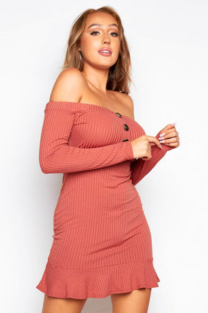 Rose Rib Bardot Mock Horn Mini Dress