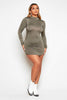Green Jersey Basic Long Sleeve Smock Dress