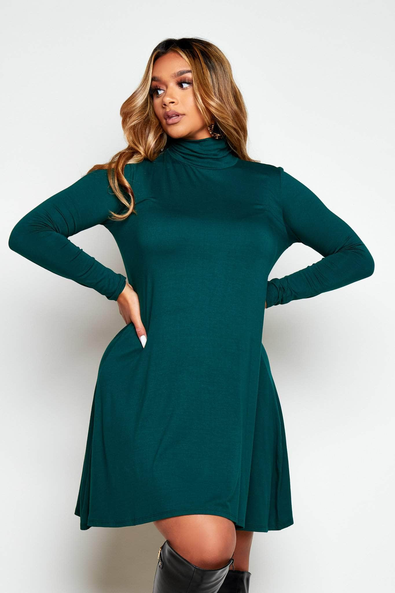 Bottle Green Jersey Basic Long Sleeve Smock Dress