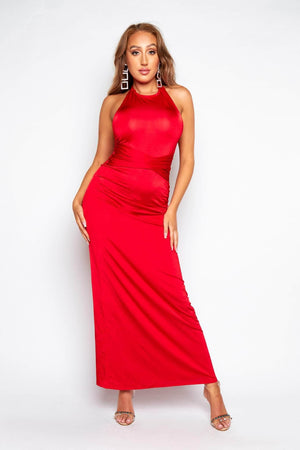 Red Slinky Halterneck Maxi Dress