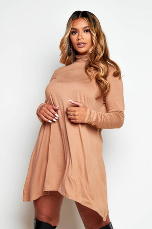 Camel Jersey Basic Long Sleeve Smock Dress