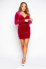 Fuchsia Velvet Gathered Wrap Mini Dress