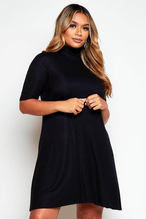 Black Ribbed High Neck Jersey Dress