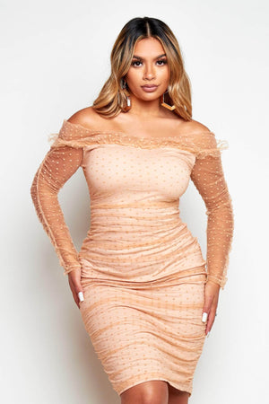Nude Dobby Mesh Ruched Midi Dress