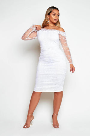 White Dobby Mesh Ruched Midi Dress