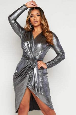 Silver Metallic Wrap Midi Belted Dress