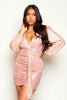 Pink Metallic Plunge Ruched Mini Dress