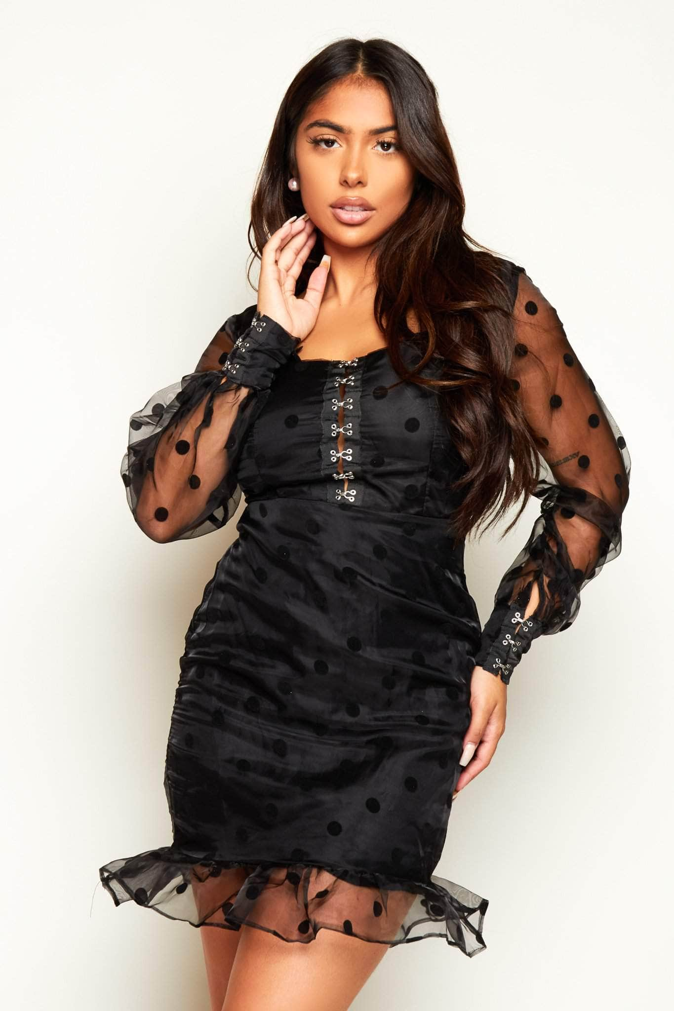 Black Polkadot Mesh Sweetheart Neck Mini Dress