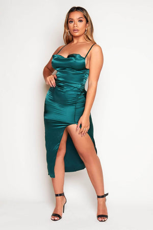 Emerald Green Satin Cowl Neck Midi Dress