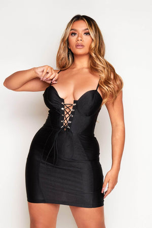 Black Bustier Hook Eye Lace Up Mini Dress