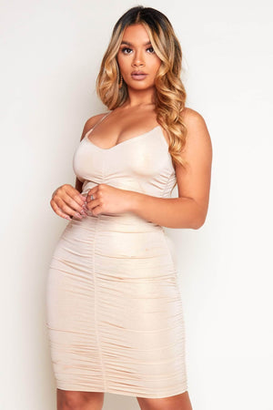 Gold Metallic Front Ruched Mini Cami Dress