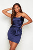 Navy Satin Bandeau Bow Mini Dress