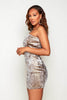 Grey Velour & Gold Metallic One Shoulder Mini Dress