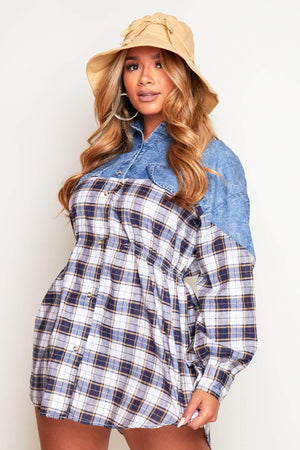 Blue Acid Wash Denim & Flannel Buttoned Shirt Dress