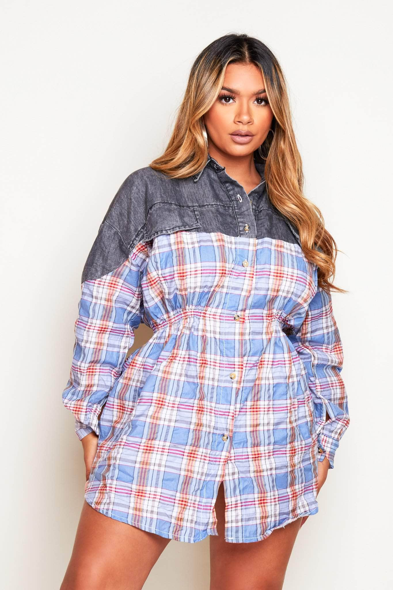 Grey Denim & Blue Flannel Buttoned Shirt Dress