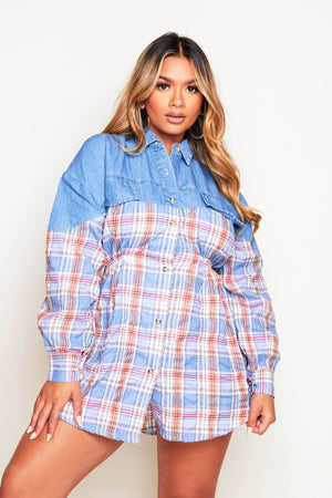 Blue Denim & Blue Flannel Buttoned Shirt Dress