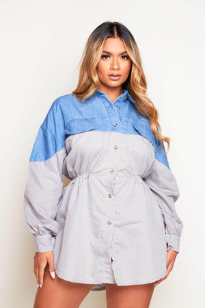 Denim & Contrast Grey Button Down Shirt Dress