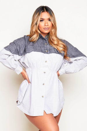 Grey Denim & Contrast Grey Button Down Shirt Dress
