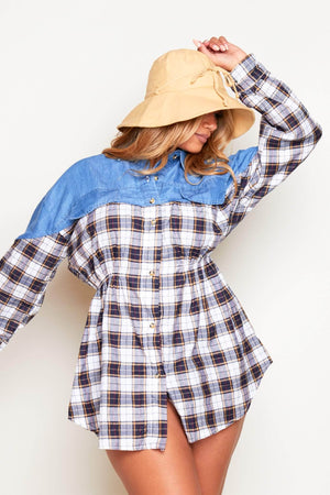 Blue Denim & Dark Blue Checked Flannel Buttoned Shirt Dress
