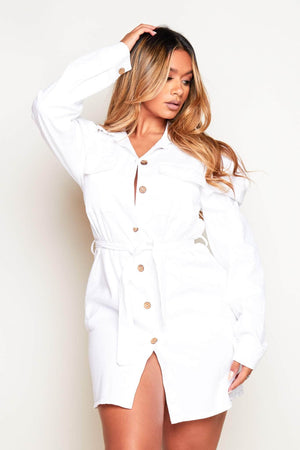 White Denim Cotton Twill Belted Shirt Dress